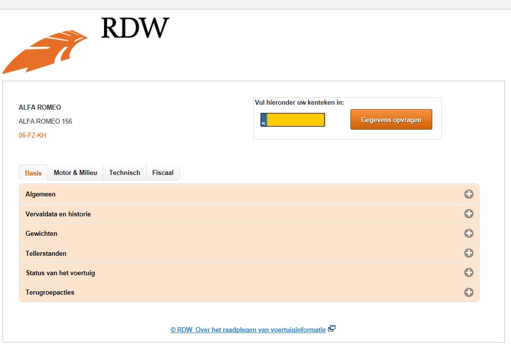 RDW OVI basis voertuiggegevens
