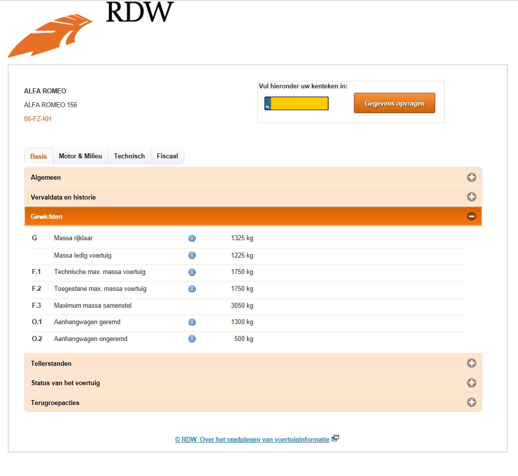 RDW ovi gewichten gegevens