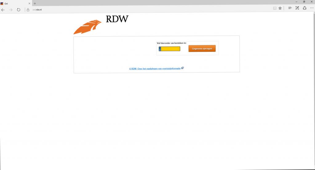 OVI RDW startpagina